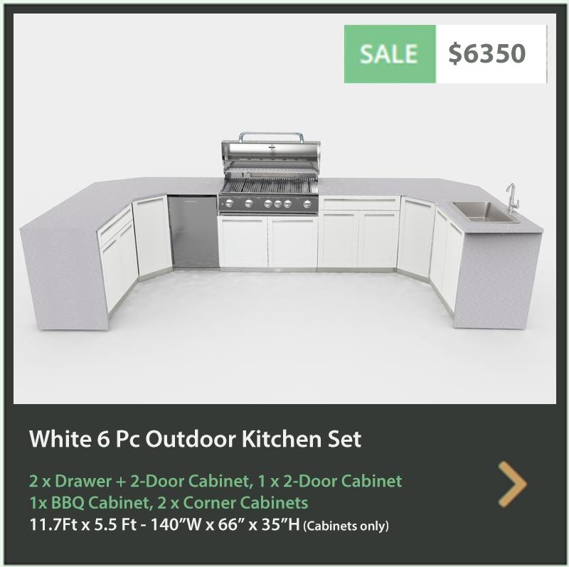 6350 4 Life Outdoor Product Image 6 PC Outdoor kitchen White 1x2-Door Cabinet 2xDrawer+2-door cabinet, 2xCorner Cabinets 1x BBQ