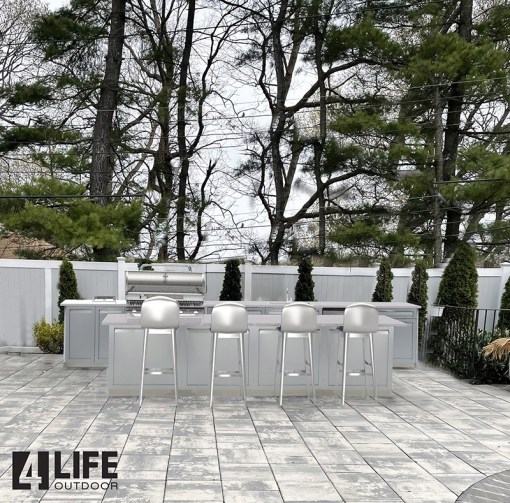 Customer design: Gray 17 PC Outdoor Kitchen Set: 4 x 2-Door Cabinet, 2 x 3 Drawer Cabinets, 2 x Drawer+2-Door Cabinet, 1xBBQ Cabinet, 4xside panels, 4xback panels 13