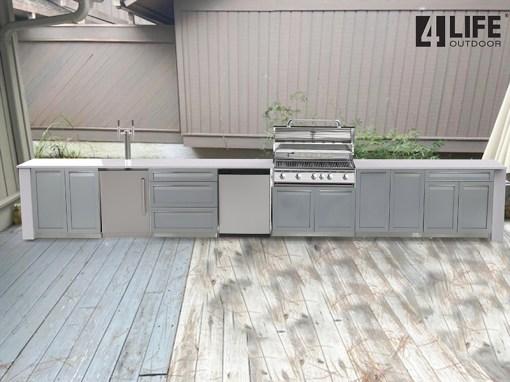 Customer design: Gray 5 PC Outdoor Kitchen Set: 2 x 2-Door Cabinet, 3 Drawer Cabinet, Drawer +2-Door Cabinet, BBQ Cabinet 9