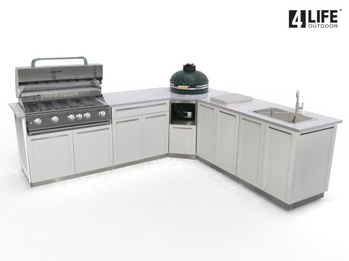 Dealer Pricing: White 7 PC Outdoor Kitchen: 2 x 2-door Cabinet, 1xDrawer+2-Door Cabinet,1xBBQ Cabinet, 1x Corner Kamado Cabinet 9