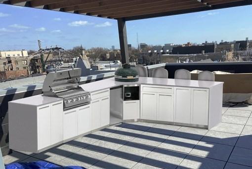 Customer Design: White 6 PC Outdoor Kitchen: 2 x 2-door Cabinet, 2 x Drawer+2-Door Cabinet, 1xBBQ Cabinet, 1xKamado Cabinet 7