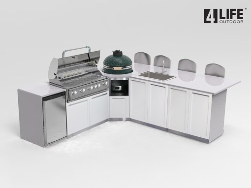 Dealer Pricing: White 4 PC Outdoor Kitchen: 2 x 2-door Cabinet,1xBBQ Cabinet, 1x Corner Kamado Cabinet 5