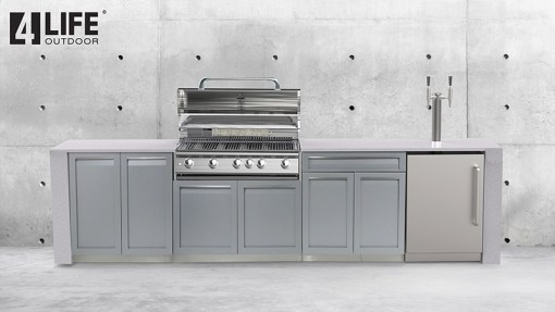 Customer design: Gray 3 PC Outdoor Kitchen Set: 1 x 2-Door Cabinet, 1xDrawer+2-Door Cabinet, 1 x BBQ Cabinet 7