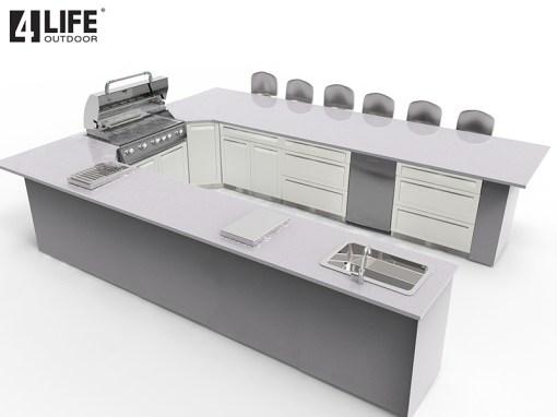 Customer Design: White 10 PC Outdoor Kitchen: 3 x 2-door Cabinet, 3x3-Drawer Cabinet, 1 x Drawer+2-Door Cabinet, 1xBBQ Cabinet, 2xCorner Cabinet 11