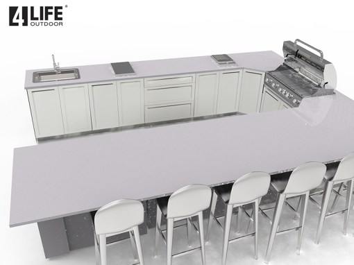 Customer Design: White 10 PC Outdoor Kitchen: 3 x 2-door Cabinet, 3x3-Drawer Cabinet, 1 x Drawer+2-Door Cabinet, 1xBBQ Cabinet, 2xCorner Cabinet 12