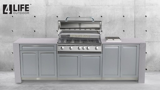 Customer design: Gray 6 PC Outdoor Kitchen Set: 3 x 2-Door Cabinet, 2 x Drawer Cabinet, BBQ Cabinet 11