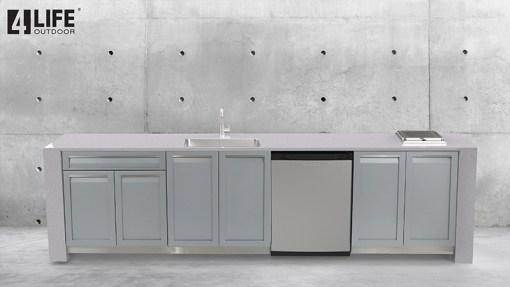 Customer design: Gray 6 PC Outdoor Kitchen Set: 3 x 2-Door Cabinet, 2 x Drawer Cabinet, BBQ Cabinet 12