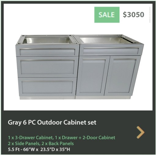 Gray 4 PC Outdoor Kitchen Cabinets: 1 x 3 Drawer Cabinet, 1 x Drawer+2-Door Cabinet, 2 x Side Panels, 2 x Back Panels 5