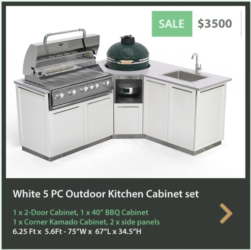 3500 4 Life Outdoor Product Image 5 PC Outdoor kitchen White 1x2-Door Cabinet 1xCorner Kamado Cabinet 1x BBQ 2 x side panels