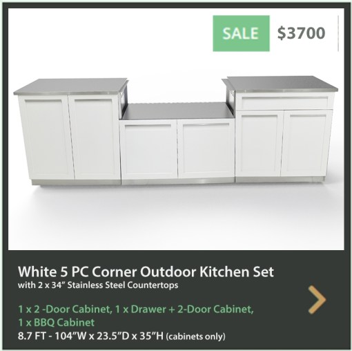 3700 4 Life Outdoor Product Image 5 PC Set White Stainless Steel Cabinets 1x2 door Cabinet, 1xBBQ Cabinet, 1xdrawer+2-door cabinet, 2 x 34 stainless countertops