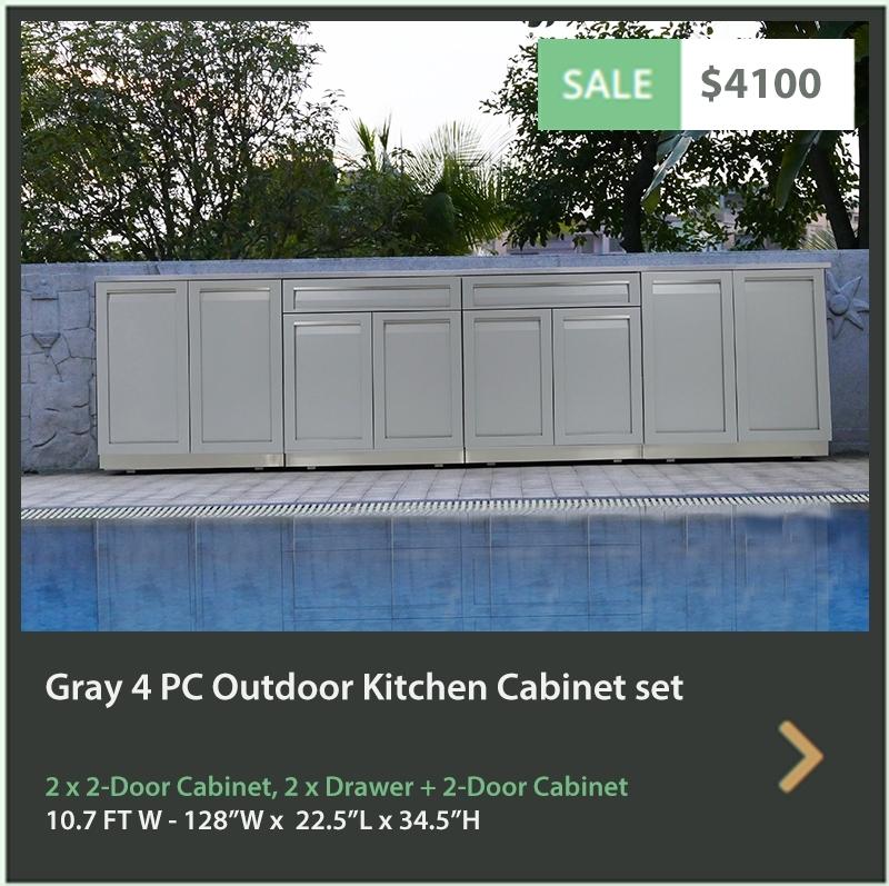 4100 4 Life Outdoor Product Image 4 PC Outdoor kitchen Gray 2x2-Door Cabinet 2 x Drawer+2-Door Cabinet