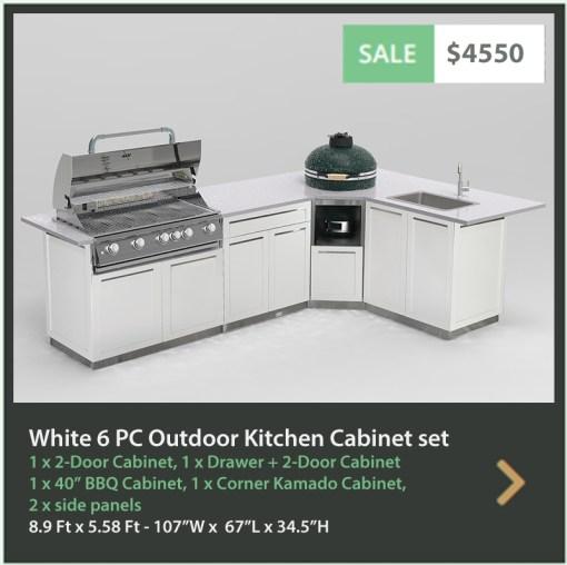4550 4 Life Outdoor Product Image 6 PC White Outdoor kitchen 1 x 2 door 1 x BBQ 1 x 3 drawer 1 x Corner kamado cabinet 2 x side panels