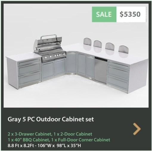 5350 4 Life Outdoor Product Image 5 PC Outdoor kitchen Gray 1x2 door 2x 3 drawer 1xBBQ 1xcorner cabinet