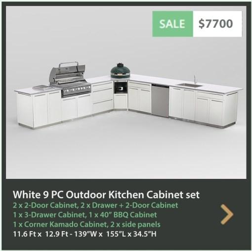 7700 4 Life Outdoor Product Image 9 PC Outdoor kitchen White 2x2-Door Cabinet 2xDrawer+2-door cabinet, 1x3-Drawer 1xCorner Kamado Cabinet 1x BBQ, 2 x side panels
