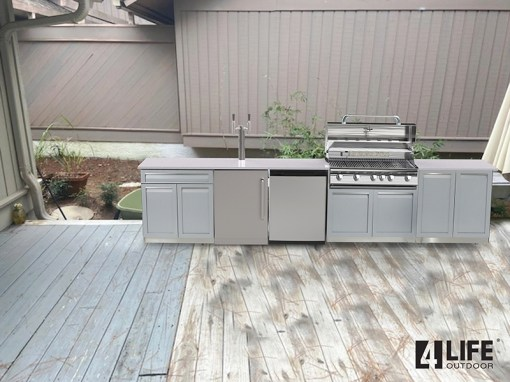 Customer Design Quinn - Gray 5 PC Outdoor kitchen Island: 1xBBQ Grill Cabinet, 1 x 2-Door Cabinet, 1 x Drawer+2-Door Cabinet, 2xSide Panels 11