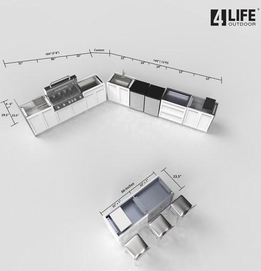 Customer design: Alois - White 12 PC Outdoor Kitchen: 4 x 2-door Cabinet, 2x Drawer +2-door Cabinet, 1x3-Drawer Cabinet, 1xBBQ Cabinet, 2 x side panels, 2xback panels 19