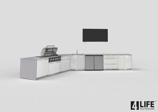Customer design: Alois - White 12 PC Outdoor Kitchen: 4 x 2-door Cabinet, 2x Drawer +2-door Cabinet, 1x3-Drawer Cabinet, 1xBBQ Cabinet, 2 x side panels, 2xback panels 18