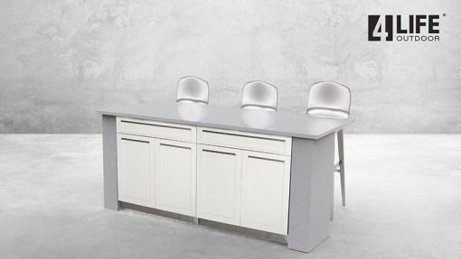 Customer image Skurski: White 4 PC Stainless Steel Outdoor Kitchen Island: 2 x Drawer+2-Door Cabinets, 1 x 2-door cabinet, 1 x 3-drawer cabinet 13
