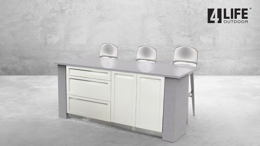 Customer image Skurski: White 4 PC Stainless Steel Outdoor Kitchen Island: 2 x Drawer+2-Door Cabinets, 1 x 2-door cabinet, 1 x 3-drawer cabinet 14