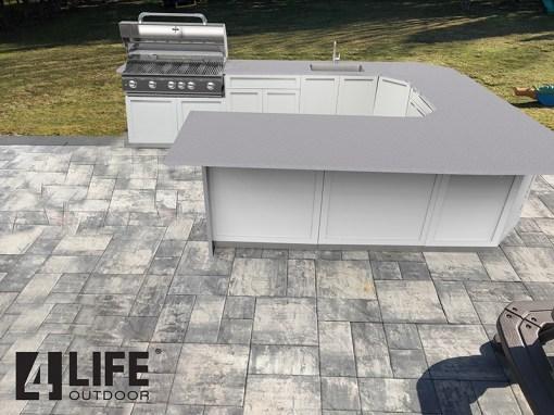Customer Design Hillers - White 8 PC Outdoor kitchen Island: 1 x 2-Door Cabinet, 3 x 3-Drawer Cabinet, 1 x Drawer+2-Door Cabinets, 2 x corner cabinet, 1 x BBQ Cabinet 14