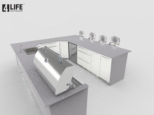 Customer Design Hillers - White 8 PC Outdoor kitchen Island: 1 x 2-Door Cabinet, 3 x 3-Drawer Cabinet, 1 x Drawer+2-Door Cabinets, 2 x corner cabinet, 1 x BBQ Cabinet 13