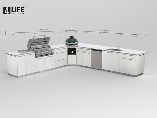 White 9 PC Outdoor Kitchen: 2 x 2-door Cabinet, 2 x Drawer+2-Door Cabinet, 1x3-Drawer Cabinet, 1xBBQ Cabinet, 1xKamado Cabinet 9