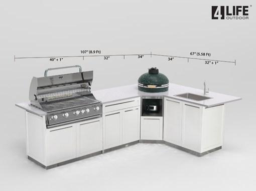 White 6 PC Outdoor Kitchen: 1 x 2-door Cabinet, 1 x Drawer+2-Door Cabinet,1xBBQ Cabinet, 1xKamado Cabinet 7