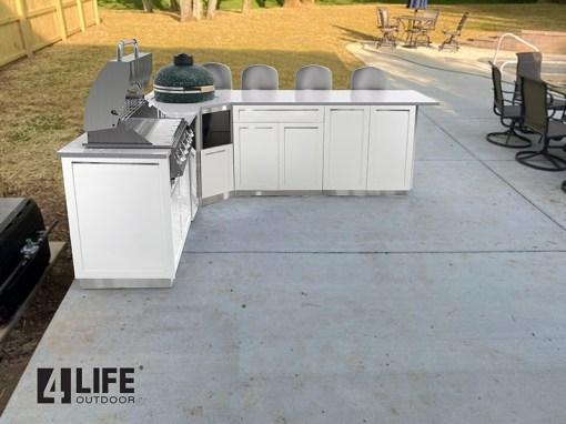 White 6 PC Outdoor Kitchen: 1 x 2-door Cabinet, 1x Drawer +2-door Cabinet, 1xBBQ Cabinet, Corner Kamado Cabinet, 2 x side panels 11