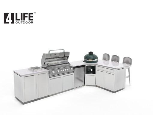 Customer Rickman - White 8 PC Outdoor Kitchen: 1 x 2-door Cabinet, 1x Drawer +2-door Cabinet, 1xBBQ Cabinet, Corner Kamado Cabinet, 2 x side panels, 1 x back panel, 1 x corner back panel 19