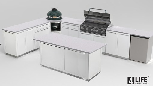 """Customer image Corrales: White 13 PC Outdoor Kitchen: 3 x 2-door cabinet, 2 x 3 Drawer Cabinets 1 x Drawer+2-door Cabinet, 1 x Kamado Corner Cabinet, 1 x 40"""" BBQ Cabinet, 3 x side panels, 2 x back panels 11"""