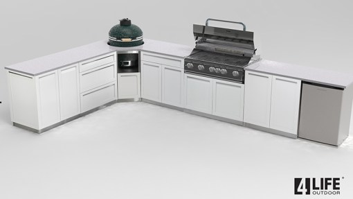 """Customer image Corrales: White 13 PC Outdoor Kitchen: 3 x 2-door cabinet, 2 x 3 Drawer Cabinets 1 x Drawer+2-door Cabinet, 1 x Kamado Corner Cabinet, 1 x 40"""" BBQ Cabinet, 3 x side panels, 2 x back panels 12"""