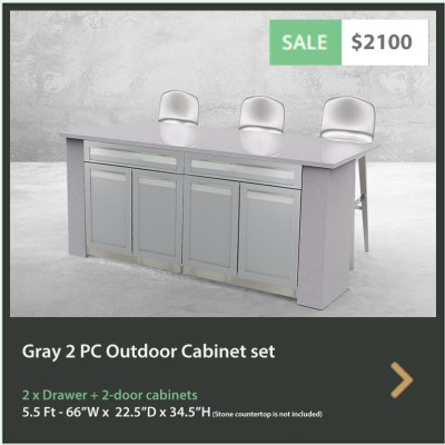 2100 4 Life Outdoor Product Image 2 PC Set Gray Stainless Steel Cabinets 2x Drawer + 2 door Cabinet