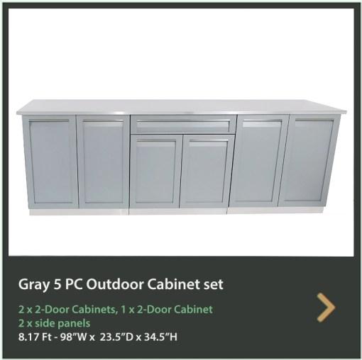 Customer Order: Munro Pools Kennedy - Gray 3 PC Outdoor Kitchen Cabinets 2 x 2-Door Cabinet, 1 x Drawer+2-Door Cabinet 5
