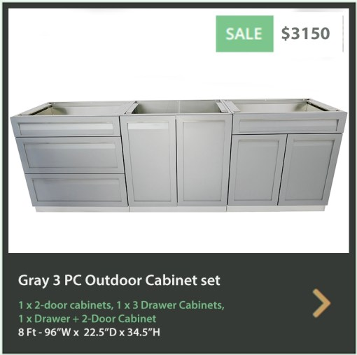 3150 4 Life Outdoor Product Image 3 PC Set Gray Stainless Steel Cabinets 1x2 door Cabinet, 1 x 3 Drawer Cabinet, 1 x Drawer 2Door