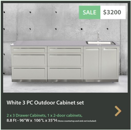 3200 4 Life Outdoor Product Image 3 PC Outdoor kitchen White 1 x 2 Door 2 x 3 Drawer Cabinets