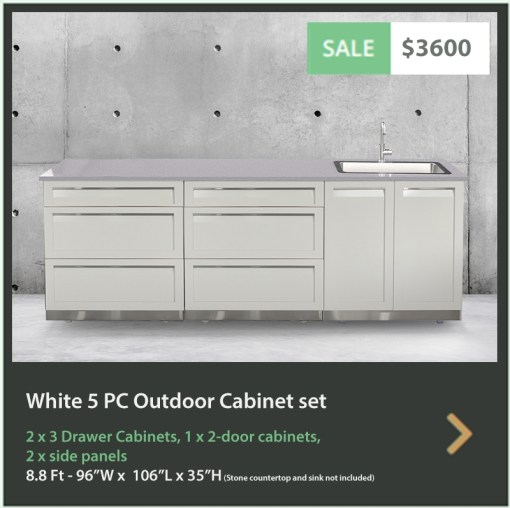 3600 4 Life Outdoor Product Image 3 PC Outdoor kitchen White 1 x 2 Door 2 x 3 Drawer Cabinets 2 x side panels