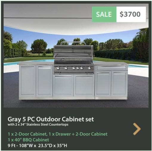 3700 4 Life Outdoor Product Image Gray 5 PC Outdoor kitchen 1 x 2 door 1 x BBQ 1 x drawer + 2-door cabinet 2 x 34 stainless countertops