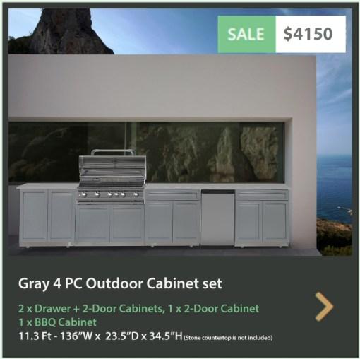 4150 4 Life Outdoor Product Image 4 PC Outdoor kitchen white 1 x 2-door 2 x Drawer + 2 door 1 x BBQ cabinet