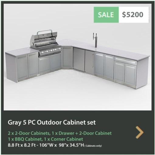 5200 4 Life Outdoor Product Image 5 PC Outdoor kitchen Gray 2x2-Door Cabinet 1xDrawer+2-door cabinet, 1xFull door Corner Cabinet 1x BBQ