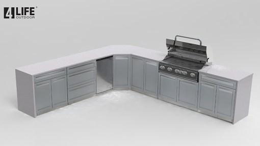 Dealer Design - Bolthouse - Gray 6 PC Outdoor kitchen: 1xBBQ Grill Cabinet, 1 x Full Door Corner, 1 x 2-Door Cabinet, 2 x Drawer+2-Door Cabinet, 1 x 3-Drawer Cabinet 13