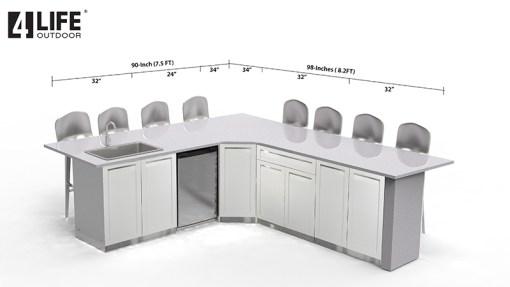Customer Design Missy - White 5 PC Outdoor kitchen Island: 2 x 2-Door Cabinet, 1 x Drawer + 2-door Cabinet, 2 x corner cabinet 7