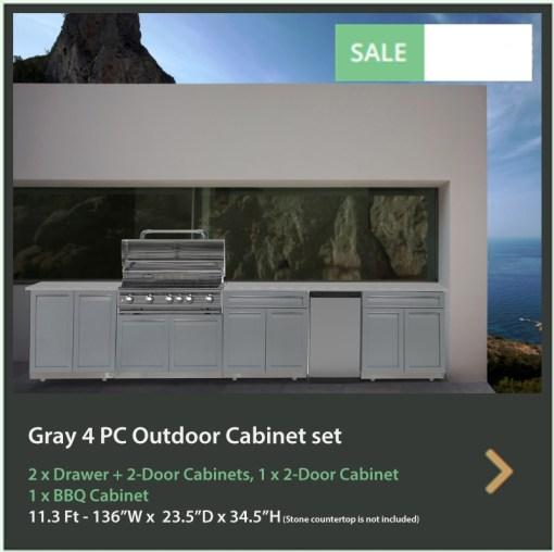 Dealer pricing - Gray 4 PC Outdoor Kitchen: BBQ Grill Cabinet, 1 x 2-Door Cabinet, 2 x Drawer + 2-door Cabinet 9