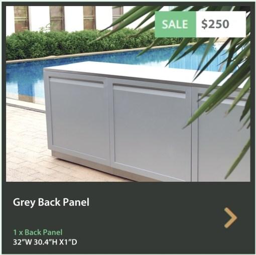 """Gray 9 PC Outdoor Kitchen: 1 x 2-door cabinet, 1 x 3 Drawer Cabinet, 1 x Full Door Corner Cabinet, 1 x 40"""" BBQ Cabinet 2 x side panels, 2 x back panels, 1 x corner back panels 24"""