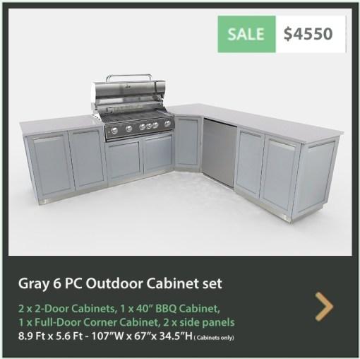 4550 4 Life Outdoor Product Image 6 PC Outdoor kitchen Gray 2x2-Door Cabinet, 1xFull door Corner Cabinet, 1x BBQ, 2 x side panels