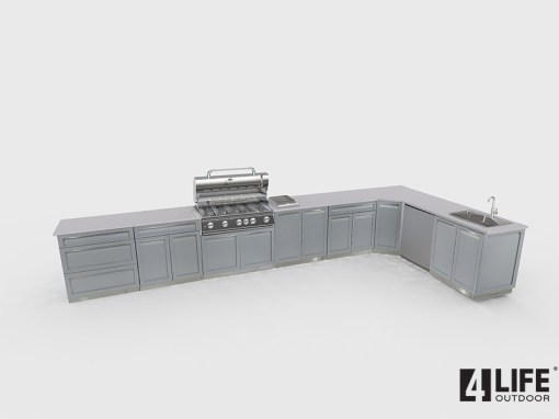 Customer image Lynn: Gray 9 PC Stainless Steel Outdoor Kitchen: 2 x 2-door cabinets, 2 x Drawer + 2-door cabinets, 1 x corner cabinets, 1 x 3 Drawer Cabinet, 1 x BBQ Cabinet, 2 x side panels 7
