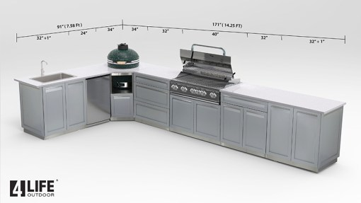 Customer image Lynn: Gray 6 PC Stainless Steel Outdoor Kitchen Island: 2 x 2-door cabinets, 1 x corner cabinets, 1 x 3 Drawer Cabinet, 1 x Drawer + 2-door Cabinet 9