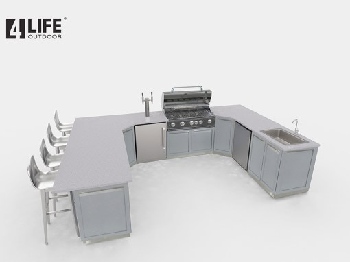 Customer image Lyndale: Gray 11 PC Stainless Steel Outdoor Kitchen Island: 2 x 2-door cabinets, 2 x full-door corner cabinets, 1 x 3 Drawer Cabinet, 2 x back panels, 2 x side panels, 1 x corner back panel 13