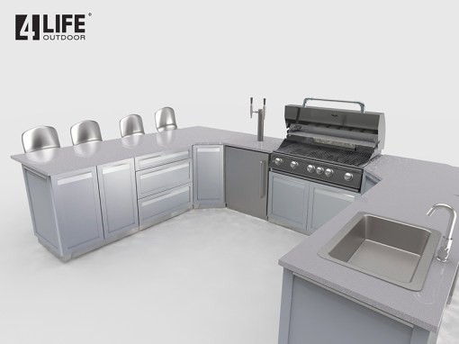 Customer image Lyndale: Gray 11 PC Stainless Steel Outdoor Kitchen Island: 2 x 2-door cabinets, 2 x full-door corner cabinets, 1 x 3 Drawer Cabinet, 2 x back panels, 2 x side panels, 1 x corner back panel 12