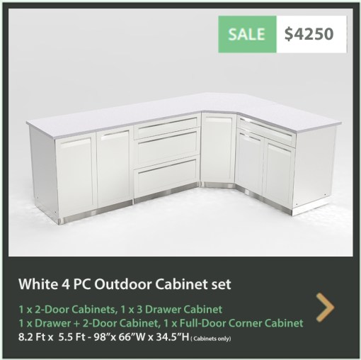 4250 4 Life Outdoor Product Image 4 PC Outdoor kitchen White 1x2-Door Cabinet 1x3 Drawer Cabinet 1 x Full Door corner cabinet 1 x Drawer + 2-door cabinet