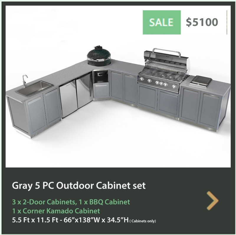 5100 4 Life Outdoor Product Image 5 PC Set Grey Stainless Steel Cabinets 3x2 Door Cabinet 1xkamadocabinet 1 x 40inch BBQ cabinet